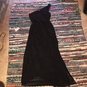 One shoulder black maxi dress. Size small.